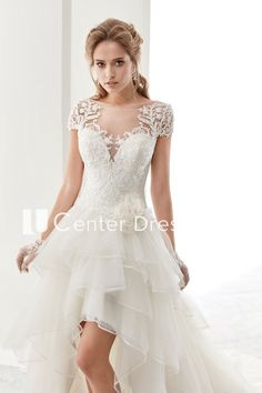 b2825461f4d9 Illusion Jewel-Neck High-Low Bridal Gown With Ruffles And T-Shirt Sleeves