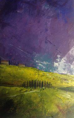 Entre nuestros árboles toscanas que la primavera Como llamas vitales en el azul... Una original pintura al óleo sobre lienzo debajo del cristal - presentado en un marco de crema debajo de un monte blanco. -Firmado por Sarah Gill 2016 A través de las colinas verdes vivas de reflejos sol de la primavera brillante Tuscany como las nubes púrpuras de un barrido de la ducha caliente en el valle. Total dimensión incluye el marco mide 10.5 x 15.5 pulgadas. La obra de arte real en el Monte mide 4,5 x…