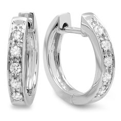 These lovely diamond earring feature 1/6 carats TDW of white diamonds in a prong setting around these lovely hoop earrings. An omega clasp holds them together for a secure fit.
