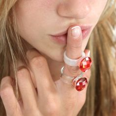 Hand made glass ring- Reds -