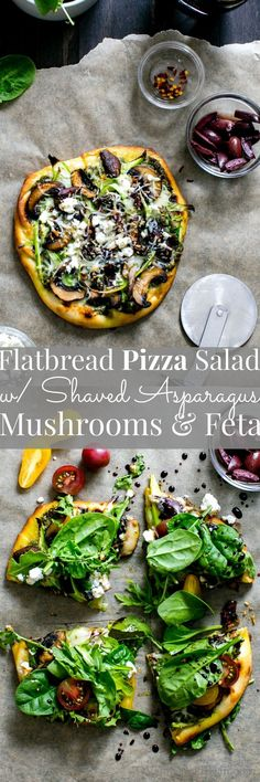 Are you ready for a 15 minute, fabulous dinner!? Flatbread Pizza Salad with Shaved Asparagus Mushrooms and Feta | Vegetarian (scheduled via http://www.tailwindapp.com?utm_source=pinterest&utm_medium=twpin&utm_content=post191960221&utm_campaign=scheduler_attribution)