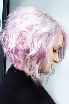 Noble Platinum-To-Pink Lob #pinkhair #platinumblonde ❤️ Want to get pastel pink hair? Rose ombre with dark roots, perfect pink highlights for blonde hair, and many ideas for short and long hair are here! ❤️ See more: http://lovehairstyles.com/pastel-pink-hair-shades/ #lovehairstyles #hair #hairstyles #haircuts