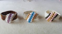 Dear Diamond Ring Beading Tutorial by (with superduo beads)