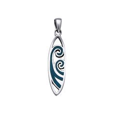 Surfboard With Waves Sterling Silver Pendant TP2946
