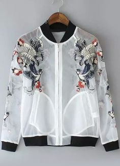 Stand Collar Embroidered Organza Coat