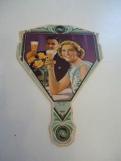 Vintage 1950's Chicago Beer Advertising Cardboard Hand Held Fan