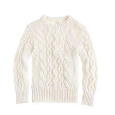 Boys' cotton loose cable crewneck sweater