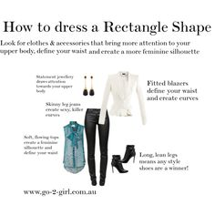 """""""How to dress a Rectangle Body Shape"""" by go-2-girl on Polyvore"""