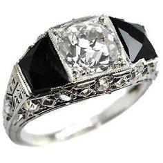 Engagement Rings | 1.68ct Diamond Art Deco Platinum Onyx Rin ...