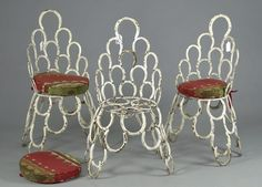 Three Painted Horseshoe Chairs, - Cowan's Auctions
