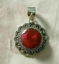 Ruby Gemstone Pendant in Sterling Silver. Birthstone Pendant, July Birthstone, Ruby Pendant, Moonstone Pendant, Ruby Gemstone, Turquoise Jewelry, Sterling Silver Pendants, Ethnic Jewelry, Bridesmaid