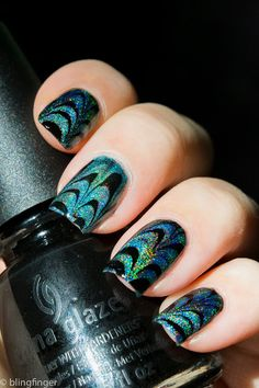 Holografic Water Marble nails #Nails #Holographic #Nailart