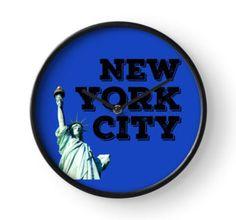 Clock Framed Prints, Canvas Prints, Art Prints, Art Boards, New York City, Digital Prints, Duvet Covers, Blue, Clock