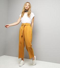 Yellow Hoop Belt Wide Leg Trousers | New Look