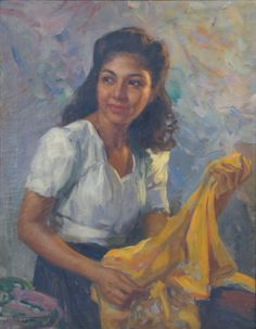 Portrait of Lina - 1946      It was a Good Friday in post-war Manila in 1946 when Amorsolo asked his daughter to pose for him.  Being one of the holiest days of the year, the artist's studio was quiet and empty allowing him to concentrate on this piece.  Having asked his wife and children to pose for him in the past, Lina thought nothing of the request.  He would frequently use them as a reference for the figures in his paintings.  from: http://www.fernandocamorsolo.com/archives.html