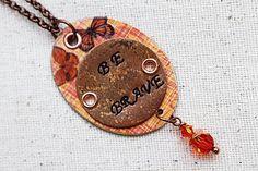 Be Brave Mixed Media Pendant Orange Bead by LittleBitsOFaith