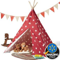 Coastal Children's Teepee Tent, Red/White Stars