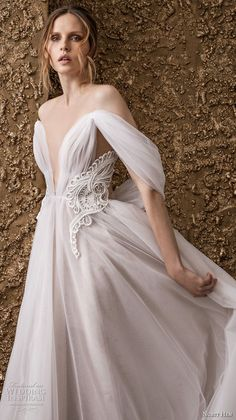 nurit hen 2018 bridal off the shoulder deep v neck ruched bodice romantic soft a  line wedding dress sweep train (4) zv -- Nurit Hen 2018 Wedding Dresses