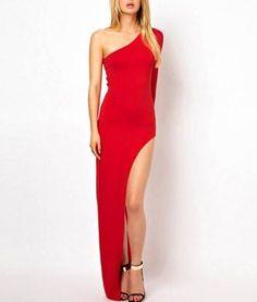 Sexy One Shoulder High Side Split Cocktail Evening Dress