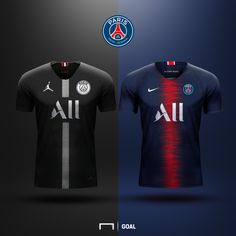 Maillot PSG Soccer Kits, Football Kits, Sport Football, Sports Jersey Design, Football Design, Jordan Logo Wallpaper, Football Workouts, Soccer Uniforms, Custom T Shirt Printing