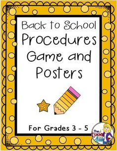 This 42 page packet comes with a Classroom Procedures Board Game (to practice classroom procedures using scenarios) , a set of 19 Procedure Posters, an extensive classroom procedure sample (The Teacher Next Door's) and detailed teacher notes. Everything you need is here to help your students internalize your classroom rules and procedures. Teaching the kids your classroom procedures sets the foundation for everything else in the year. Great reinforcement to start the year well! (TpT…