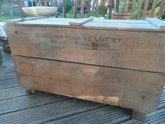 Large Traditional Vintage French Pork and Beef Products Transport Box Great Text & Graphics With Lid Great size clean treated ready to go #2 by VintageFoggy on Etsy