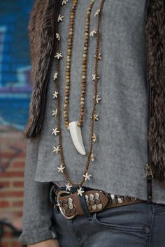 Starfish and horn boho Necklace
