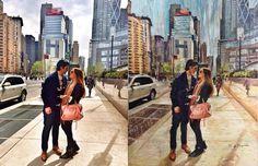 Erick Nogueda — Ana y Eduardo, pintura de una foto. Óleo sobre...