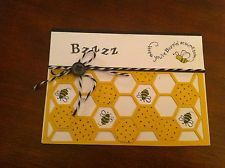 Stampin Up Farm Fever Buzzing Bee get well card kit curry honeycomb hive apiary