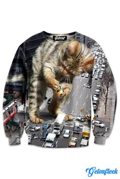 Kitty Zilla Crewneck - Shop our entire collection of Cat Apparel! www.getonfleek.com