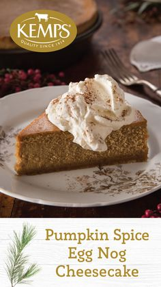 Pumpkin Spice Egg Nog Cheesecake Topped With Whipped Cream Trust Us Its Whole Lot Easier To Make Then It Is