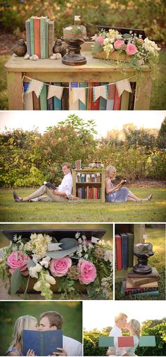 bookish photo session -- Imagine bride and groom sneaking a kiss behind the book! #dawninvitescontest