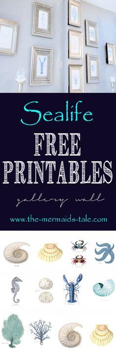 https://themermaidstale.wordpress.com free gallery wall sea life printables