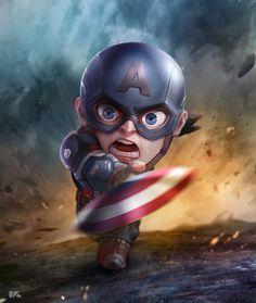 Captain America: Mini Avengers Series by Kuchu Pack Marvel Dc Comics, Marvel Avengers, Avengers Series, Marvel Art, Marvel Heroes, Marvel Characters, Marvel Movies, Captain America Wallpaper, Die Rächer