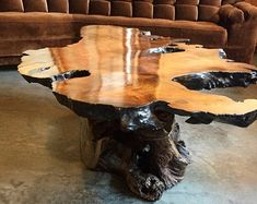 Large Mid Century Free Flow Burl Wood Live Edge Nature Coffee Table estética Rustic Glass top coffee/end table with hollow stump and colour