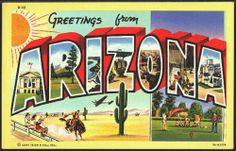 1940s Large Letter Greetings from  Arizona State Vintage Postcard