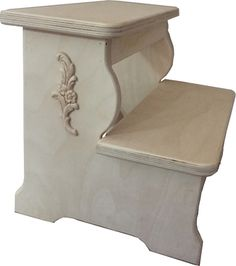 Unfinished Child's Two Step Stool With Ornate Detail