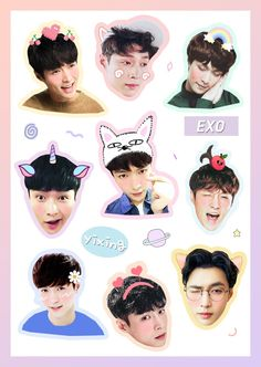 Exo Stickers, Tumblr Stickers, Printable Stickers, Cute Stickers, Kpop Exo, Baekhyun, Exo Lockscreen, K Pop, Bts Chibi
