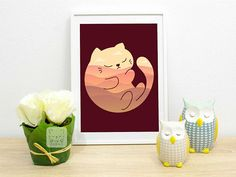 Cat print Sleeping Cat Print Sleepy Animal Wall Art Kawaii  A sleeping cat with a dreamy background print for nurseries and kids rooms. Perfect gift for a cat lover.