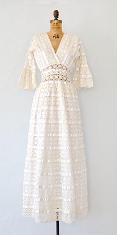 vintage 1960s Mexican wedding dress | lace 60s maxi boho dress #bohowedding #lacedress