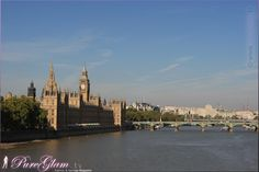 Taking the red bus to see London on a beautiful spring day with blue sky - River Thames with Westminster - London, UK, Great Britain