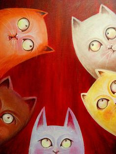 Acrylic Color Art cat looking by aarakart on Etsy