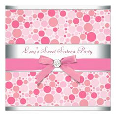 Pink Bubbles Pink Sweet 16 Birthday Party Invite