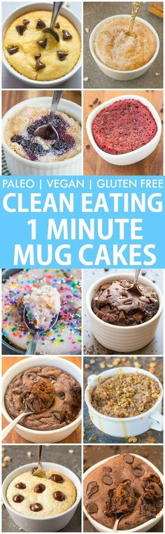 Clean Eating Healthy 1 Minute Mug Cakes Brownies and Muffins (V GF Paleo)- Delicious single-serve desserts and snacks which take less than a minute! Low carb sugar free and more with OVEN options too! Clean Eating Desserts, Köstliche Desserts, Low Carb Desserts, Gluten Free Desserts, Eating Healthy, Dessert Recipes, Paleo Recipes, Gluten Free Mug Cake, Free Recipes