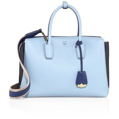 MCM Milla Medium Tri-Tone Leather Tote (10.915 ARS) ❤ liked on Polyvore featuring bags, handbags, tote bags, purses, mcm tote bag, purse tote, man tote bag, blue leather handbags and blue leather purse