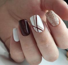 Bridal Nail Art Designs for Women in 2020 - Bridal Nail Art Designs f. Bridal Nail Art Designs for Women in 2020 - Bridal Nail Art Designs for Women in 2020 - Square Nail Designs, Fall Nail Designs, Cute Nail Designs, Brown Nail Designs, Shellac Nail Designs, Elegant Nail Designs, Burgundy Nail Designs, Burgundy Nail Art, Red And White Nails