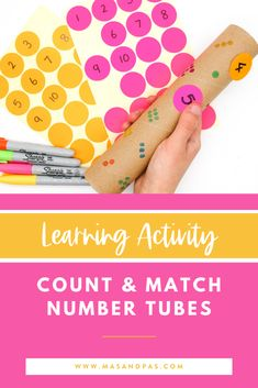 What a super easy and fun way to teach your child how to count and match numbers! This learning activity is made using circle stickers and old paper towel tubes and can assist with teaching your toddler or preschooler all about their first numbers in a way that they wil love! #countinggame #mathgame #mathactivity #countingnumbers #learningactivityforkids Educational Activities For Toddlers, Learning Games For Kids, Counting Activities, Play Based Learning, Learning The Alphabet, Learning Through Play, Teaching Calendar, Kindergarten Activities, Fun Math
