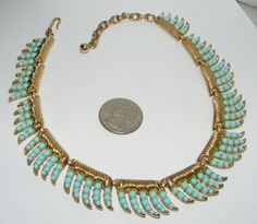Vintage TRIFARI faux turquoise lucite bead / stone collar NECKLACE signed