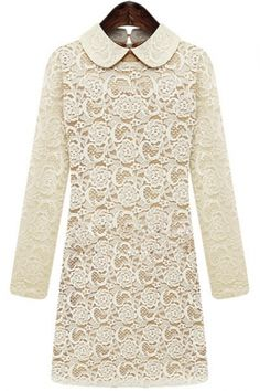 Apricot Lapel Long Sleeve Lace Dress