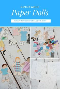 Housewife Eclectic: Printable Quiet Book- Paper Dolls. Two different sets, one to color and one that has patterns and fun styles already!